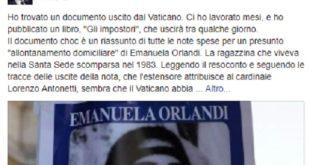 Sparizione di Emanuela Orlandi, Emiliano Fittipaldi presenta documenti scottanti